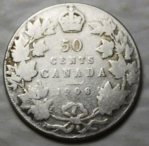 CANADA 1908 SILVER 50 CENTS OLD DATE KING EDWARD VII