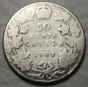 CANADA 1909 SILVER 50 CENTS OLD DATE KING EDWARD VII