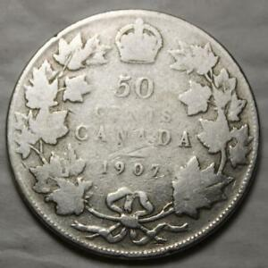 CANADA 1907 SILVER 50 CENTS OLD DATE KING EDWARD VII