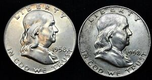 YEAR SET OF TWO  2  1958  P D  FRANKLIN SILVER HALF DOLLAR  50  US COINS.