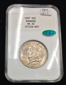 Click now to see the BUY IT NOW Price! 1937 MS65 NGC 2.1  CAC  ROANOKE COMMEMORATIVE 50C  EARLY GENERATION SLAB PQ