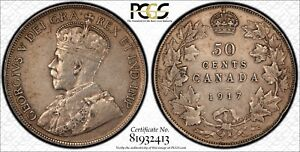 1917 CANADA SILVER 50 CENTS PCGS XF 40 50C