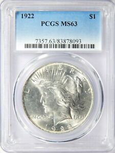 1922 P PEACE DOLLAR PCGS MS 63 WITH TEETH AND DOUBLE PROFILE