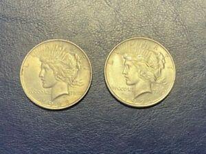 1923 PEACE DOLLARS SET OF 2 AU  WITH BEAUTIFUL LUSTER