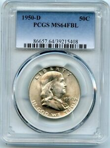 AVC  1950 D FRANKLIN HALF DOLLAR PCGS MS64 FBL 39215408