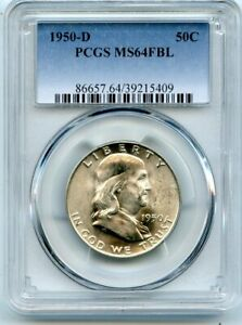 AVC  1950 D FRANKLIN HALF DOLLAR PCGS MS64 FBL 39215409