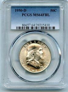 AVC  1950 D FRANKLIN HALF DOLLAR PCGS MS64 FBL 39215410