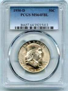 AVC  1950 D FRANKLIN HALF DOLLAR PCGS MS64 FBL 39215413