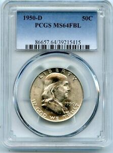 AVC  1950 D FRANKLIN HALF DOLLAR PCGS MS64 FBL 39215415