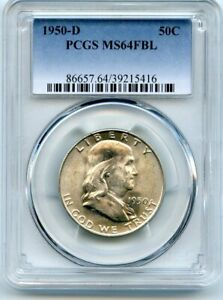 AVC  1950 D FRANKLIN HALF DOLLAR PCGS MS64 FBL 39215416