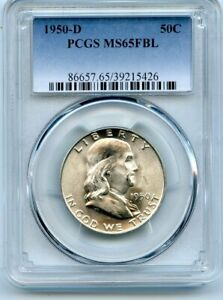 AVC  1950 D FRANKLIN HALF DOLLAR PCGS MS65 FBL 39215426