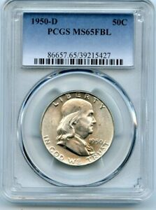 AVC  1950 D FRANKLIN HALF DOLLAR PCGS MS65 FBL 39215427