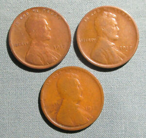 1917 P 1917 D 1917 S LINCOLN PENNIES    3  U.S. 1 CENT PENNY