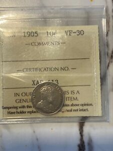 1905 CANADA 10 CENTS ICCS GRADED VF 30..NICE GRADE