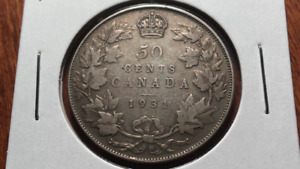 1931 CANADA SILVER FIFTY CENTS