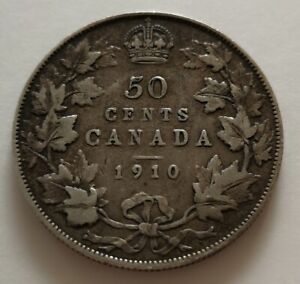 CANADA 50 CENTS 1910  1     KING  EDWARDS      FINE    MY OPINION