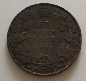 CANADA 50 CENTS 1910  2     KING  EDWARDS      VG   MY OPINION