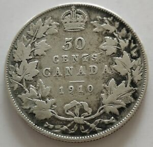 CANADA 50 CENTS 1910  3     KING  EDWARDS      VG  MY OPINION