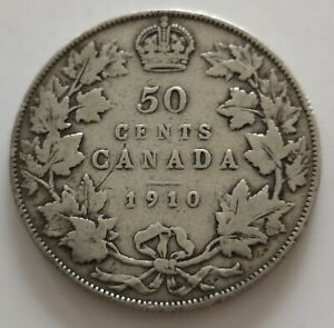 CANADA 50 CENTS 1910  4     KING  EDWARDS      VG  MY OPINION