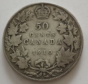 CANADA 50 CENTS 1910  5     KING  EDWARDS      GOOD    MY OPINION