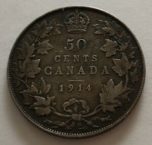 CANADA 50 CENTS 1914 1     KING  GEORGES V      FINE    MY OPINION
