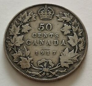 CANADA 50 CENTS 1917 1      KING  GEORGES V      VG   MY OPINION