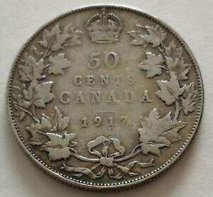 CANADA 50 CENTS 1917 2      KING  GEORGES V      VG  MY OPINION