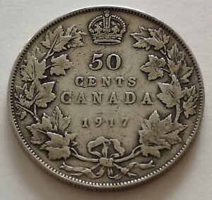 CANADA 50 CENTS 1917 3      KING  GEORGES V      VG  MY OPINION