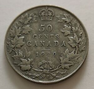 CANADA 50 CENTS 1920 1      KING  GEORGES V      VG   MY OPINION