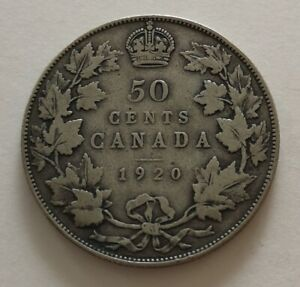 CANADA 50 CENTS 1920 2      KING  GEORGES V      VG  MY OPINION