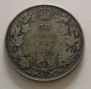 CANADA 50 CENTS 1920 3      KING  GEORGES V      VG  MY OPINION