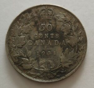 CANADA 50 CENTS 1931 3      KING  GEORGES V      VG   MY OPINION