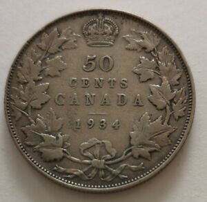 CANADA 50 CENTS 1934 2      KING  GEORGES V       FINE 12   MY OPINION