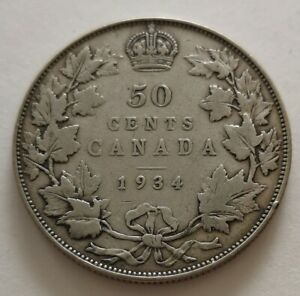 CANADA 50 CENTS 1934 3      KING  GEORGES V       FINE 12   MY OPINION