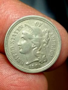 1881/1881 REPUNCHED NICKEL THREE CENT PIECE VF/XF DETAILS 'DOUBLE DIE ERROR'