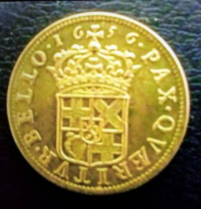 THE ICONIC  OLIVER CROMWELL 1656 GOLD BROAD  20 SHILLINGS  IN EXT FINE