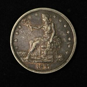 1877 $1 SEATED TRADE SILVER DOLLAR VF CONDITION NICELY TONED COIN