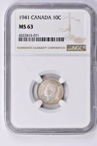 1941 CANADA 10 CENTS NGC MS 63 WITTER COIN