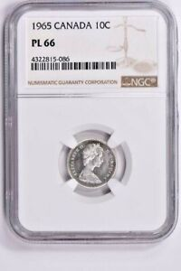 1965 CANADA 10 CENTS NGC PL 66 WITTER COIN