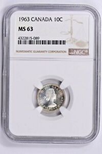 1963 CANADA 10 CENTS NGC MS 63 WITTER COIN