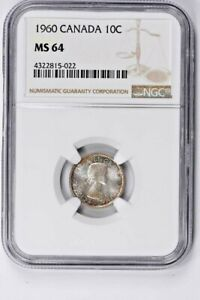 1960 CANADA 10 CENTS NGC MS 64 WITTER COIN