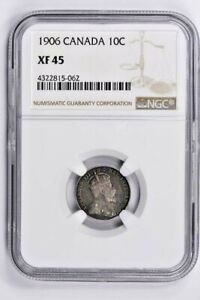 1906 CANADA 10 CENTS NGC XF 45 WITTER COIN