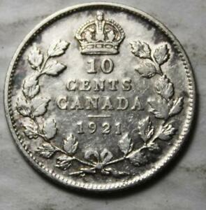 CANADA 1921 SILVER 10 CENTS OLD DATE KGV