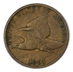 1857 FLYING EAGLE US ONE CENT 1C ORIGINAL CIRCULATED VF/XF