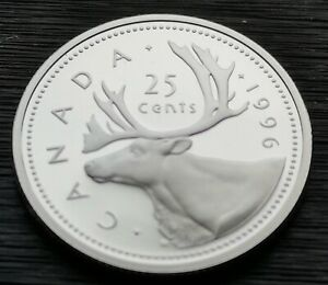 CANADA  25  CENTS  1996      PROOF  HEAVY  CAMEO       STERLING  SILVER