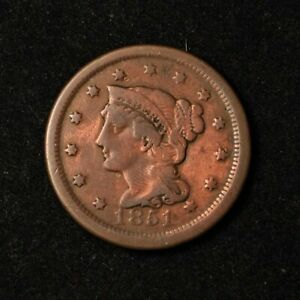 1851 1C BRAIDED HAIR LARGE CENT COPPER US TYPE COIN