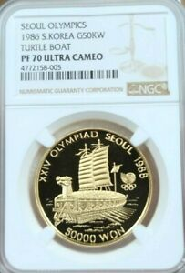 Click now to see the BUY IT NOW Price! 1986 SOUTH KOREA GOLD 50000 WON TURTLE BOAT NGC PF 70 ULTRA CAMEO PERFECTION