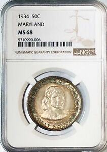Click now to see the BUY IT NOW Price! 1934 50C MARYLAND MS68 SILVER COMMEMORATIVE HALF DOLLAR NGC MS68