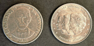 DOMINICAN REPUBLIC SET OF TWO 25 CENTAVOS COINS   1981 & 1984   KM 51 & 61.1