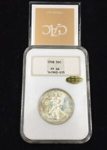 Click now to see the BUY IT NOW Price! 1938 PF66  GOLD CAC  NGC OLD FATTY HOLDER PROOF WALKING LIBERTY HALF DOLLAR